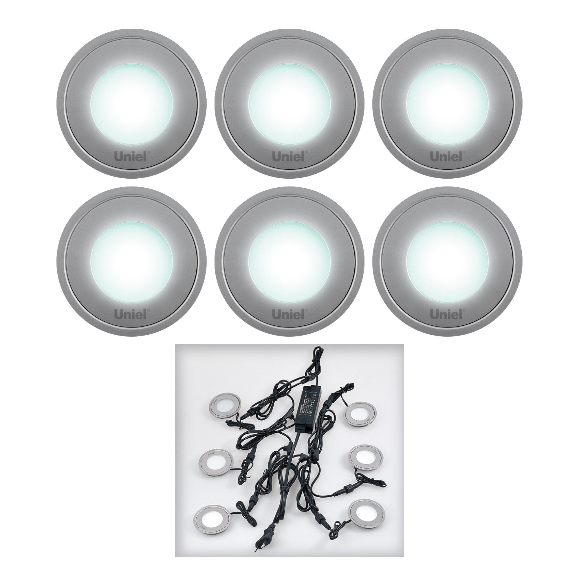 Светильник встраиваемый Uniel Ulm-r06-0,5w*6/nw ip67 silver