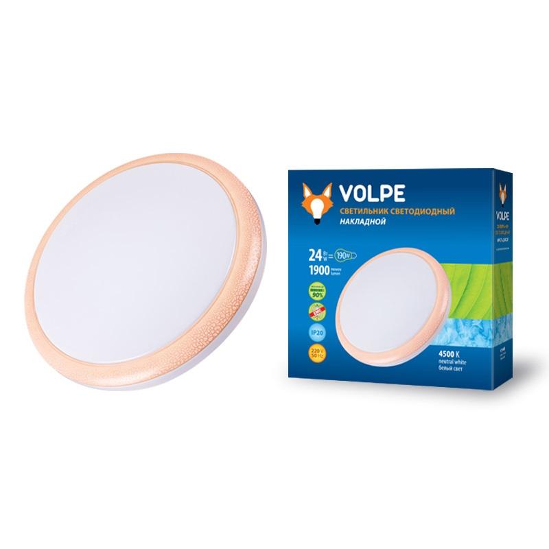 Светильник настенно-потолочный Volpe Uli-q101 24w/nw white/pink потолочный светодиодный светильник 09914 volpe 6500k ulp q101 6060 33w dw silver