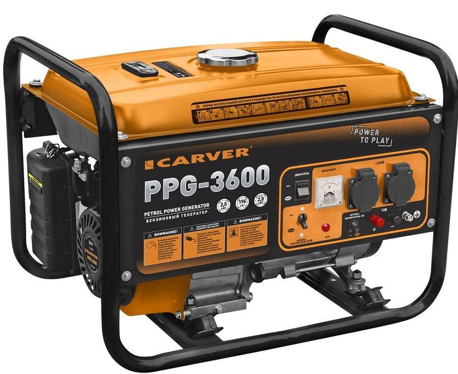 Генератор CarverГенераторы (электростанции)<br>Полная мощность: 2.79999999999999,<br>Мощность активная: 2.5,<br>Рабочий объем: 196,<br>Напряжение: 220/12,<br>Бак: 12,<br>Время работы на полном баке: 12,<br>Вид топлива: бензин,<br>Назначение генератора: резервный<br>