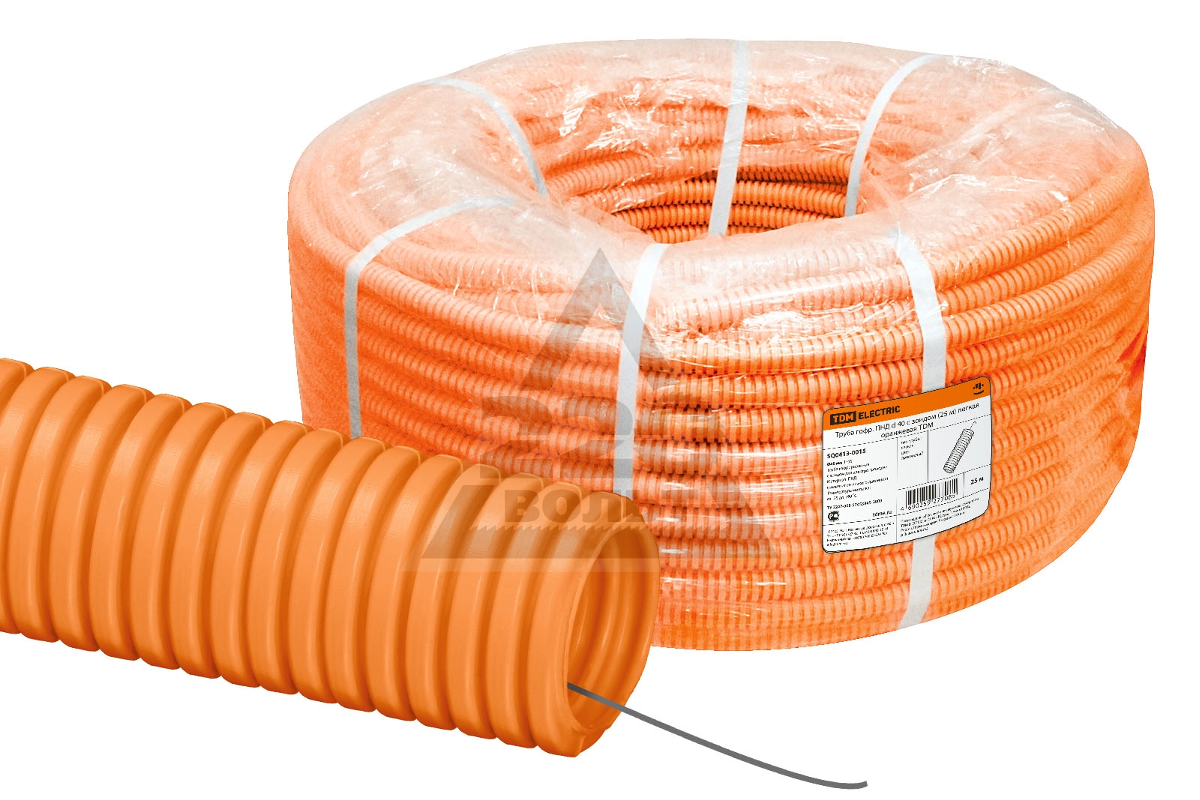 ЕТМ9535100 Труба гофрированная ПНД 20 мм с протяжкой оранжевая (100м)