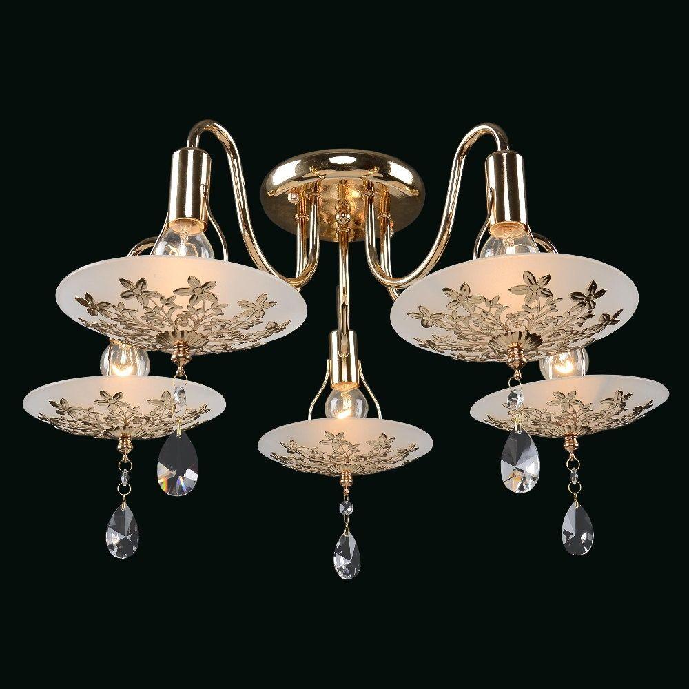Люстра МАКСИСВЕТ 1-8640-5-fg lucesolara люстра lucesolara 8001 5s цоколь е14 40w gold cream металл стекло 5 ламп