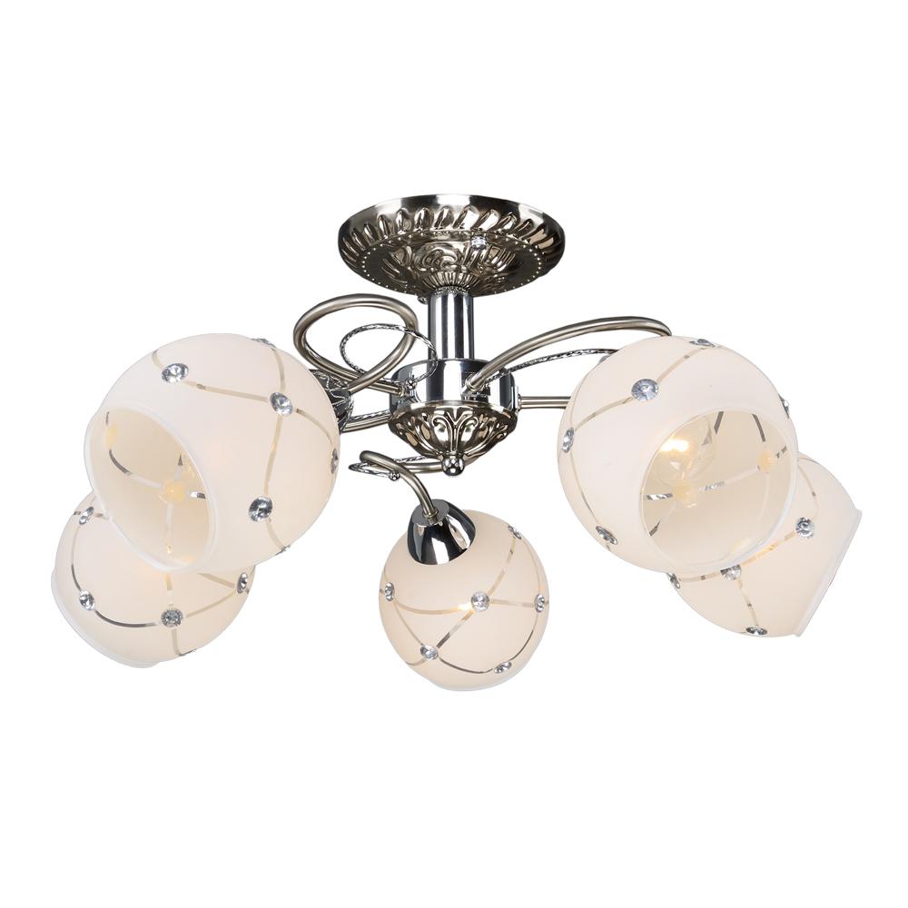 Люстра МАКСИСВЕТ 1-9390-5-st+cr lucesolara люстра lucesolara 8001 5s цоколь е14 40w gold cream металл стекло 5 ламп