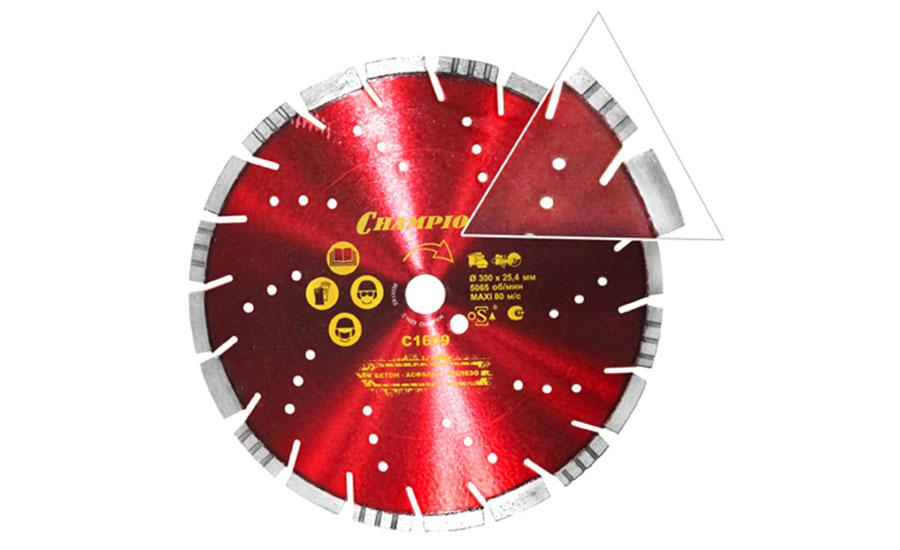 Круг алмазный Champion C1609 круг алмазный champion st 300 25 4 10 concremax
