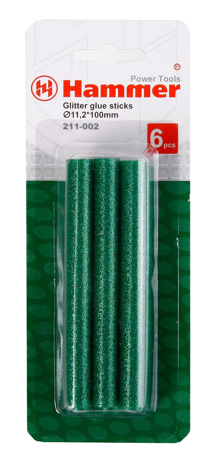 Стержни для клей-пистолетов Hammer Cтержни зел. металлик 11.2мм, 100 мм, 6 шт. фрезер hammer flex frz1200b
