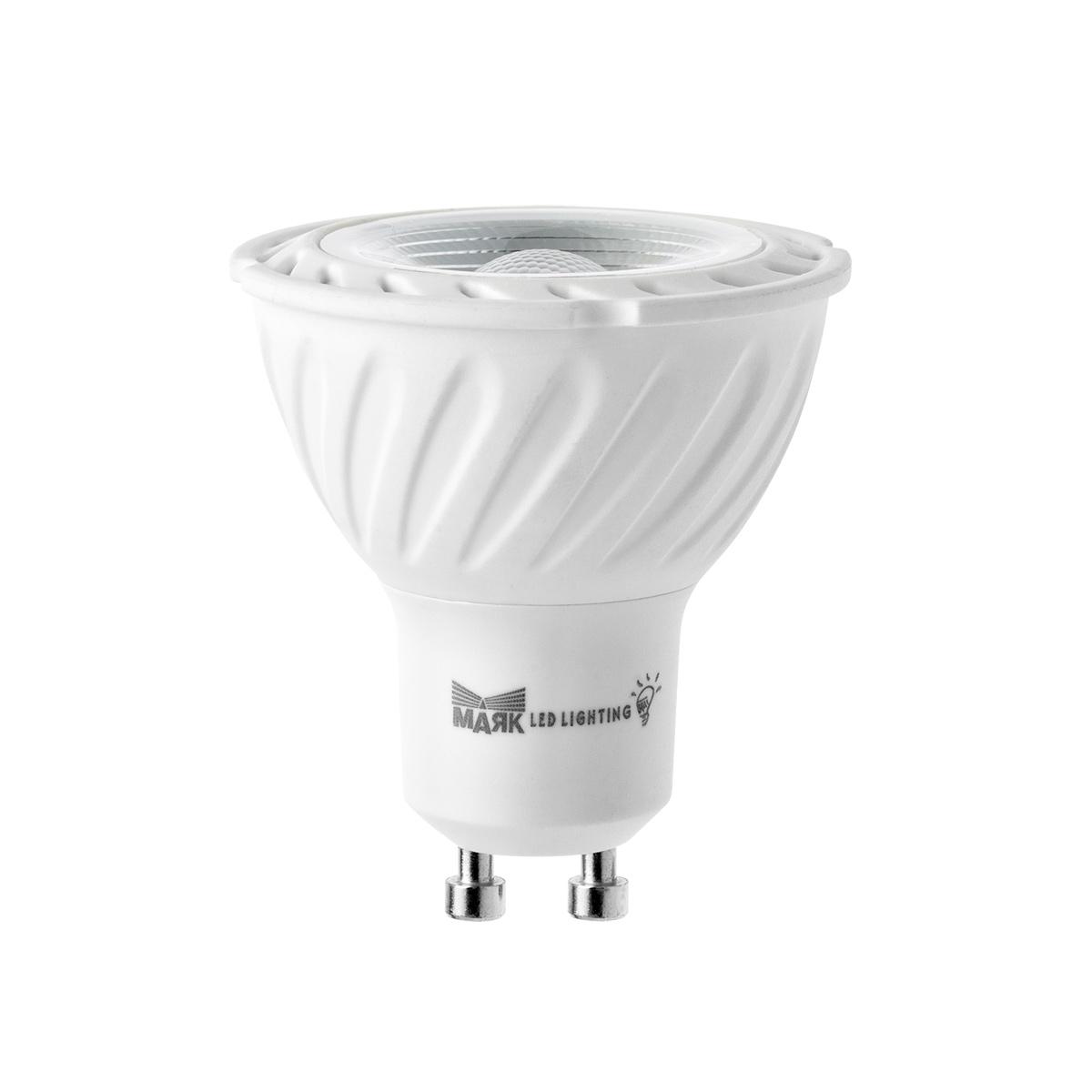 Лампа светодиодная Mayak-ledЛампы<br>Тип лампы: светодиодная,<br>Форма лампы: рефлекторная,<br>Цвет колбы: прозрачная,<br>Тип цоколя: GU10,<br>Напряжение: 220,<br>Мощность: 6,<br>Цветовая температура: 3000,<br>Цвет свечения: теплый,<br>Диммируемая: есть<br>