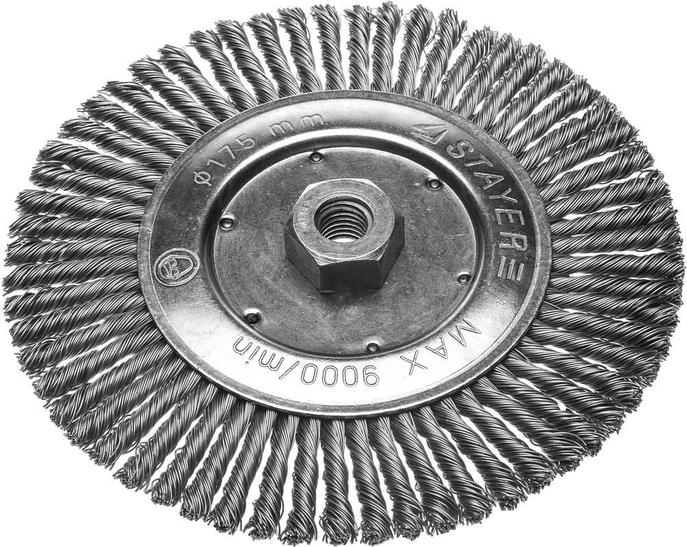 Кордщетка Stayer плоская 175мм для УШМ витая сталь (35192-175) кордщетка edge плоская 180мм для ушм витая сталь 813010013
