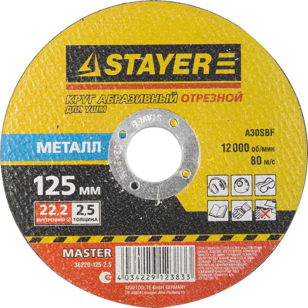 Круг отрезной Stayer 125х2.5х22 master 36220-125-2.5_z01 угольник stayer master 350мм 3430 35 z01