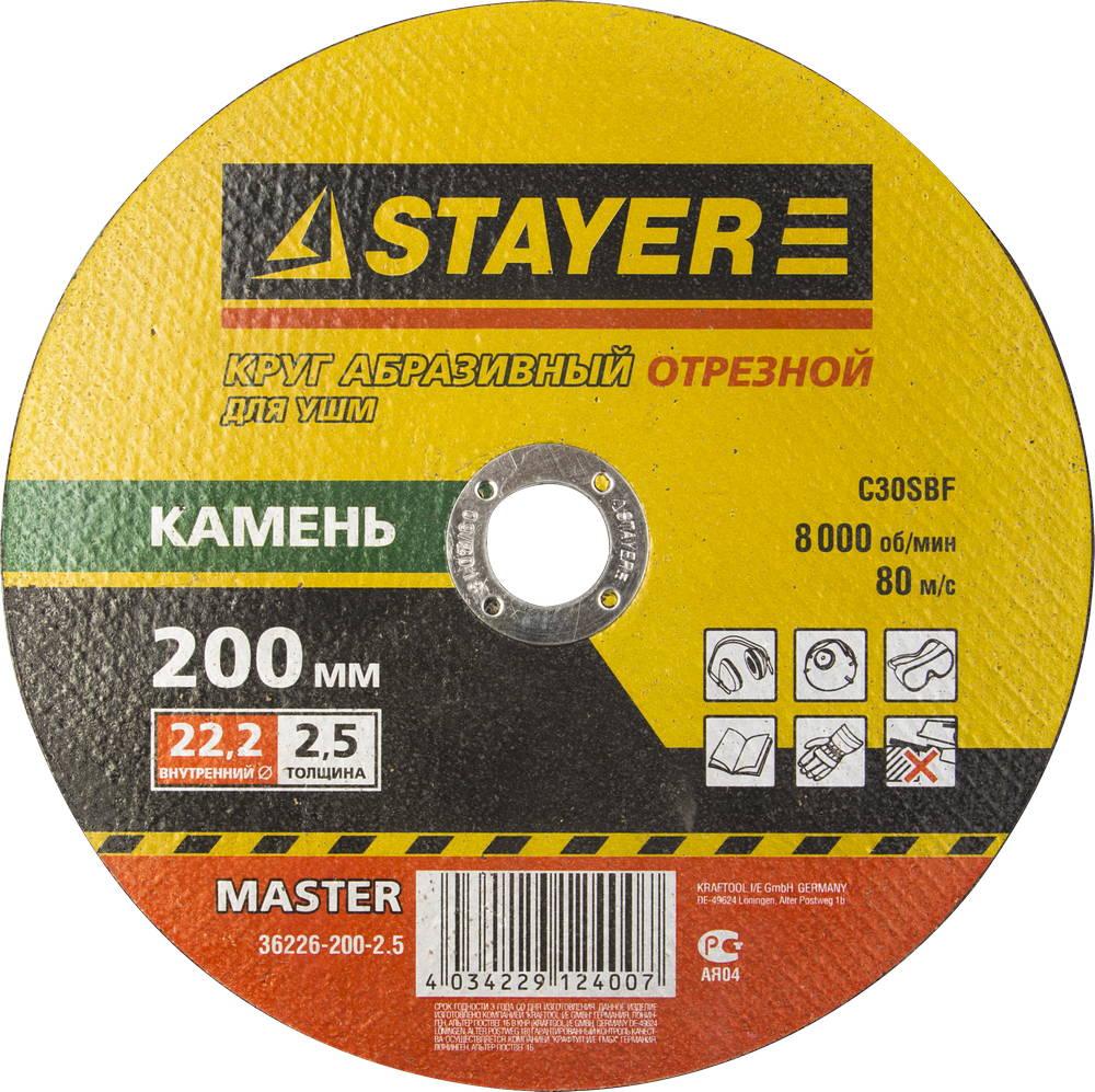 Круг отрезной Stayer 200х2.5х22 master 36226-200-2.5_z01 200