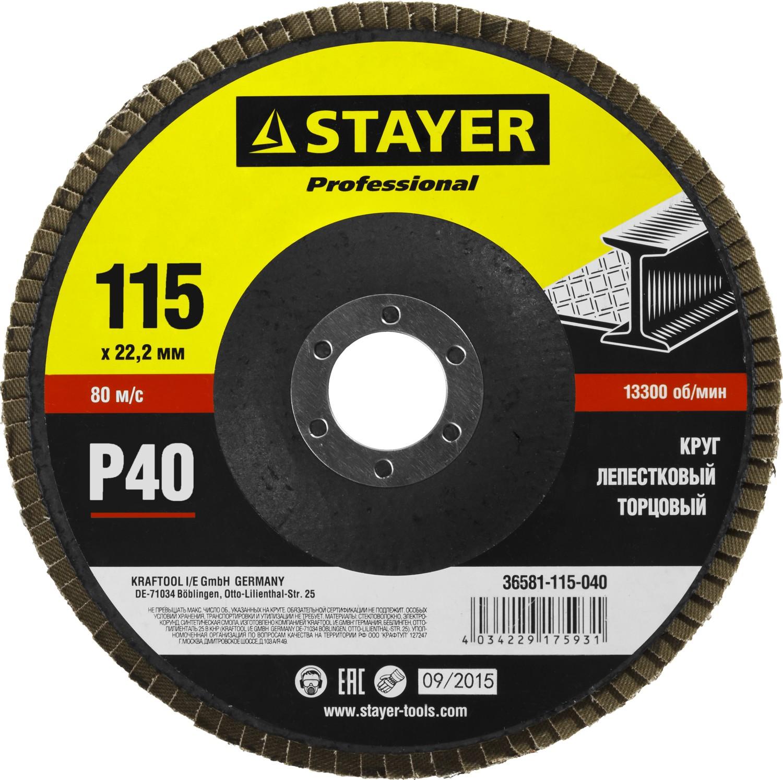 Круг Лепестковый Торцевой (КЛТ) Stayer Profi 36581-115-040 лента stayer profi клейкая противоскользящая 50мм х 5м 12270 50 05