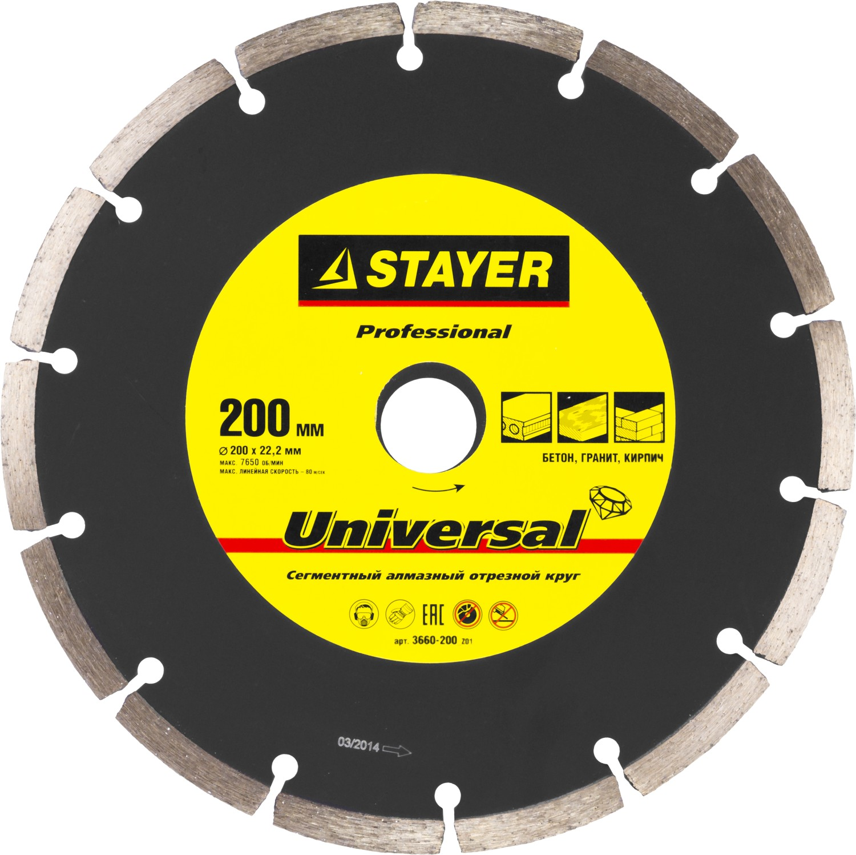 Круг алмазный Stayer Professional 3660-200_z01 краскораспылитель пневматический stayer professional с нижним бачком