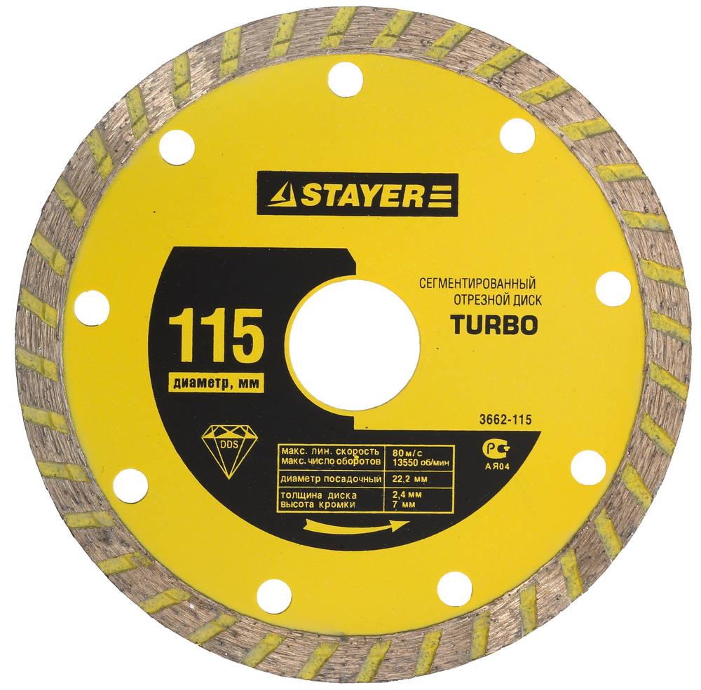 Круг алмазный Stayer 'turbo'' 3662-110 круг алмазный stayer professional 3662 115 z01