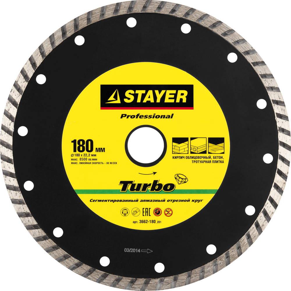 Круг алмазный Stayer Professional 3662-180_z01 круг алмазный stayer professional 3662 115 z01