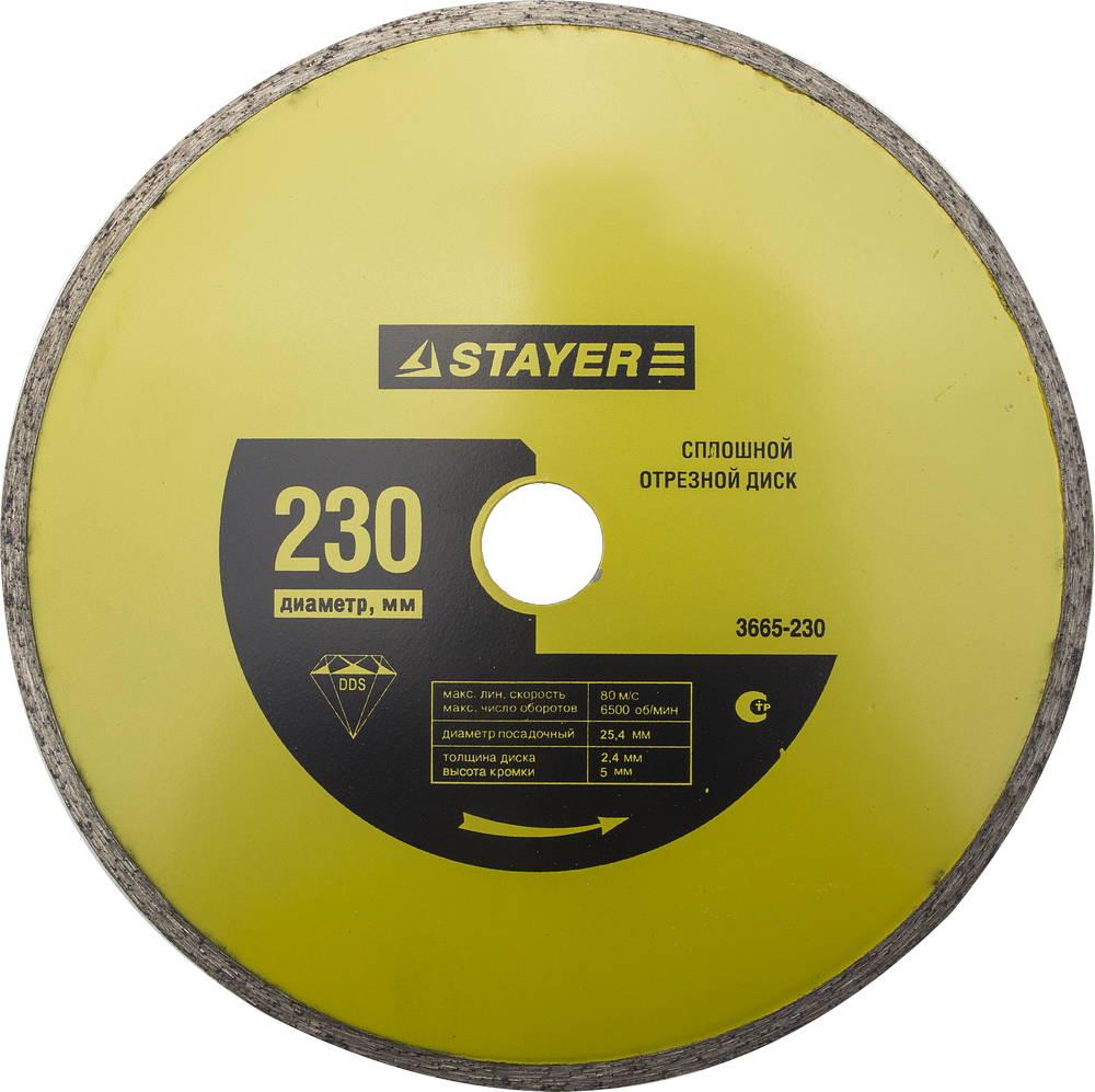 Круг алмазный Stayer Master 3665-230 диск алмазный diam 150х22 2мм master турбо 000160