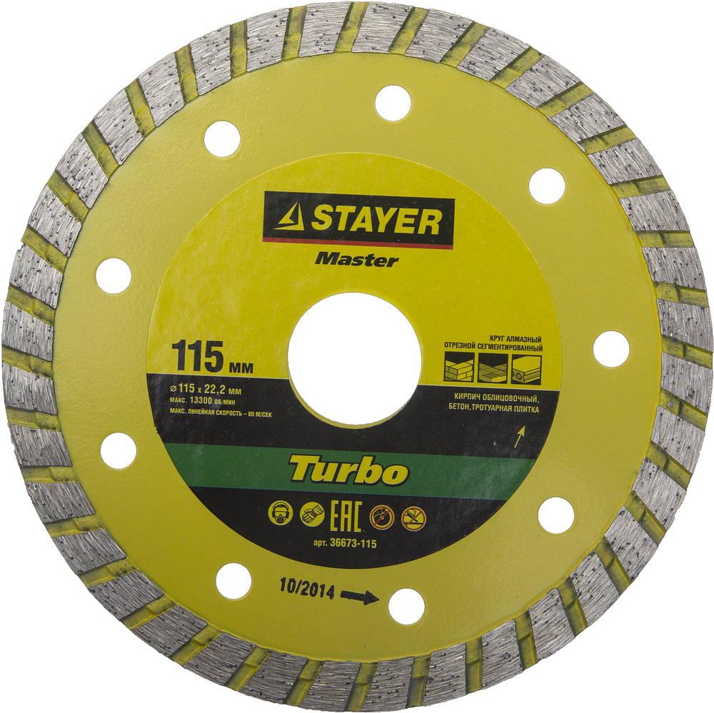 Круг алмазный Stayer Master 36673-115 круг алмазный stayer professional 3662 115 z01