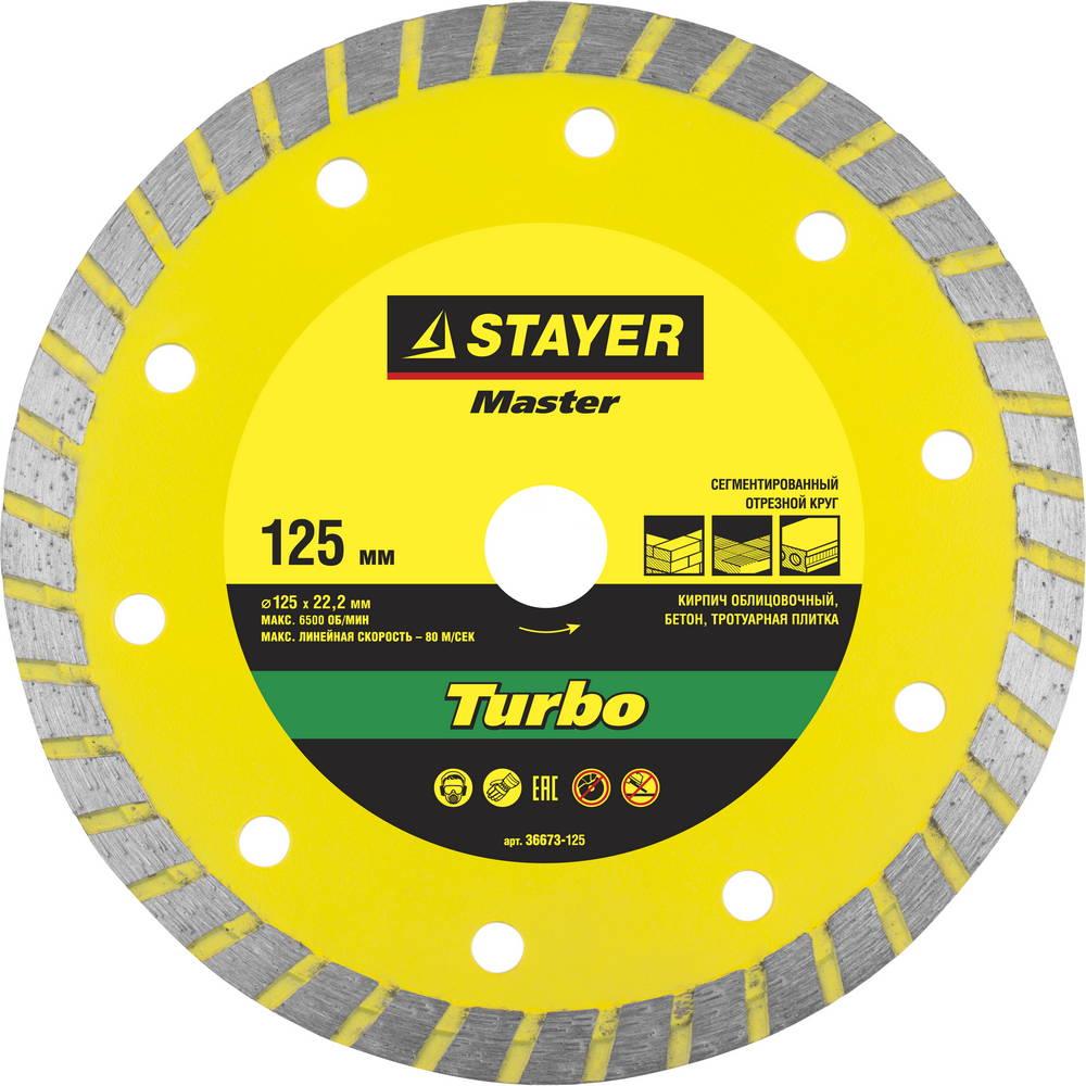 Круг алмазный Stayer Master 36673-125 диск алмазный diam 150х22 2мм master турбо 000160