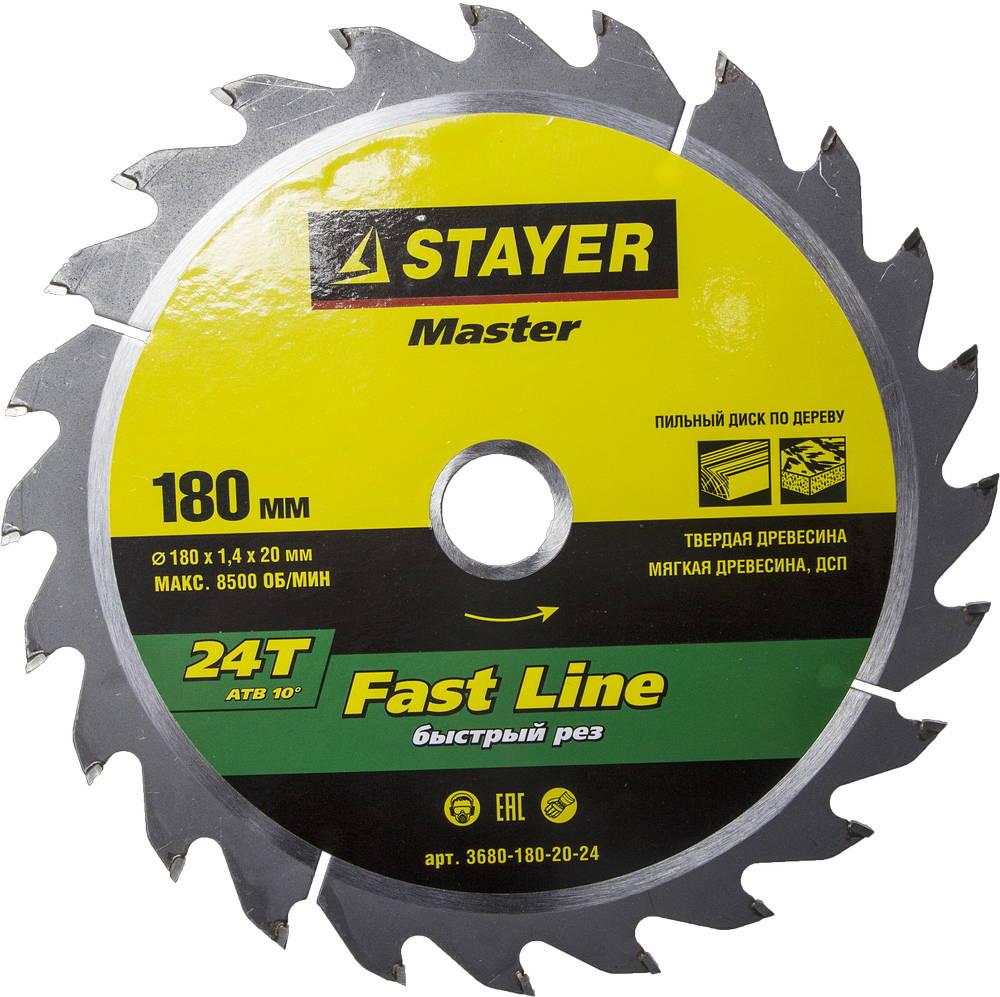 Диск пильный твердосплавный Stayer Master 3680-180-20-24 диск алмазный diam 150х22 2мм master турбо 000160