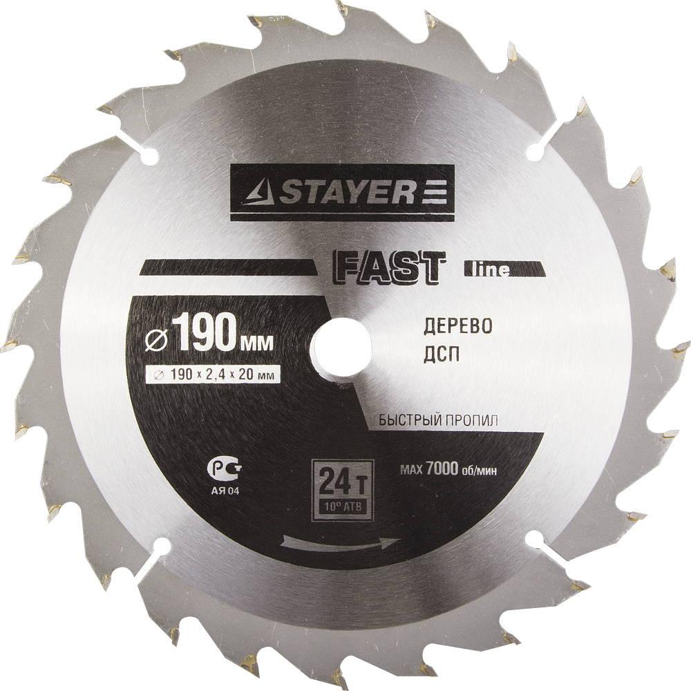 Диск пильный твердосплавный Stayer Master 3680-190-20-24 диск алмазный diam 150х22 2мм master турбо 000160
