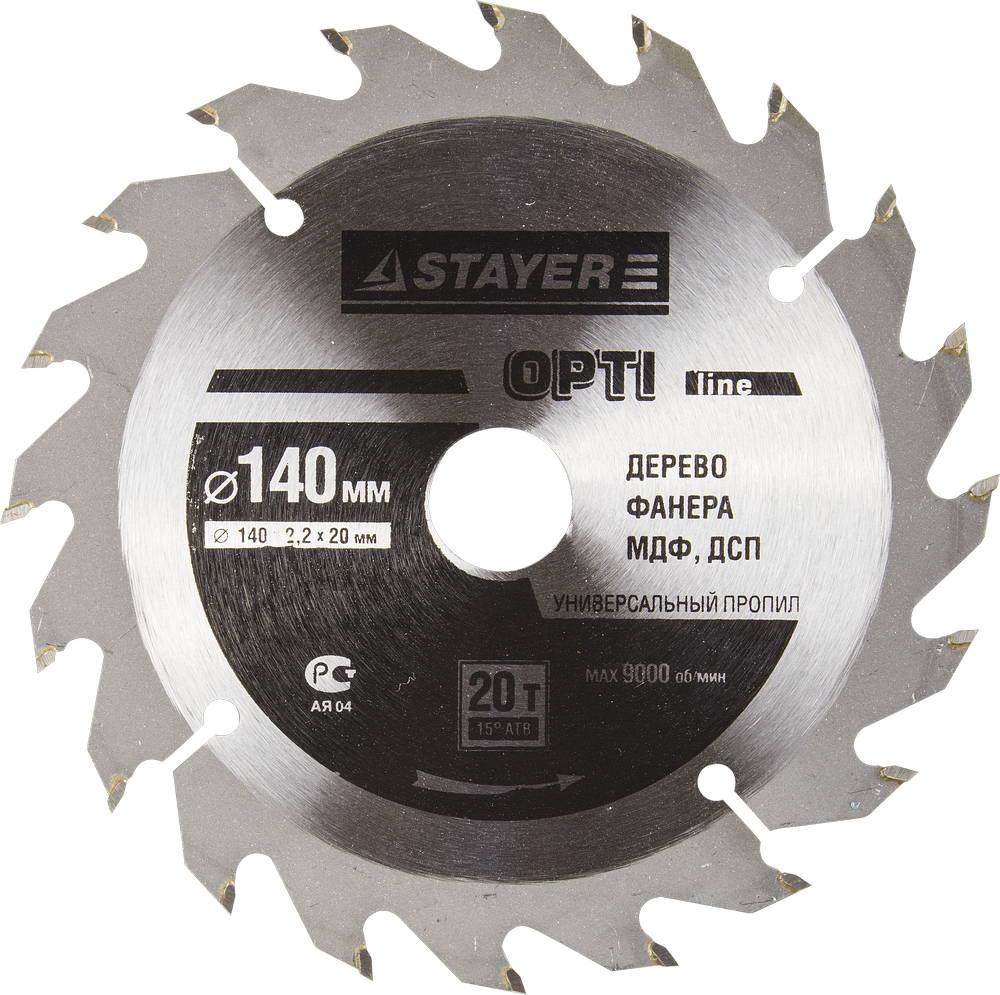 Диск пильный твердосплавный Stayer Master 3681-140-20-20 диск алмазный diam 150х22 2мм master турбо 000160