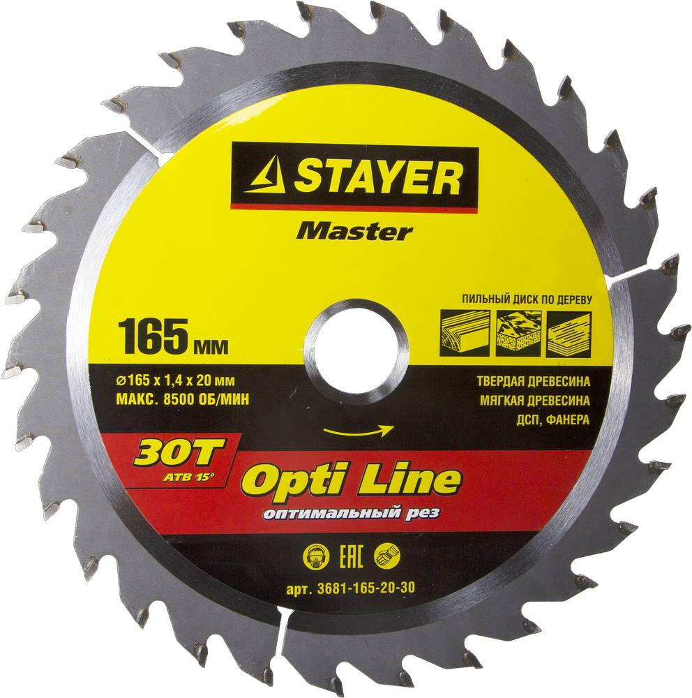 Диск пильный твердосплавный Stayer Master 3681-165-20-30 диск алмазный diam 150х22 2мм master турбо 000160