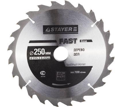 Диск пильный твердосплавный STAYER Ф250х32мм 40зуб. (MASTER 3681-250-32-40)