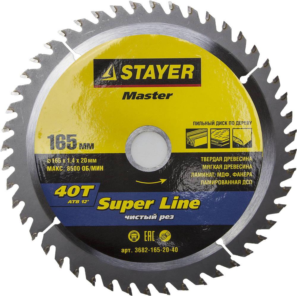Диск пильный твердосплавный Stayer Master 3682-165-20-40 диск алмазный diam 150х22 2мм master турбо 000160