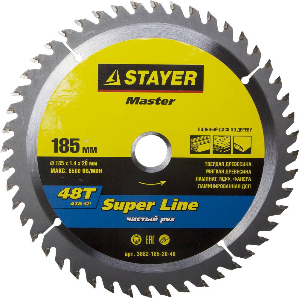 Диск пильный твердосплавный Stayer Master 3682-185-20-48 диск алмазный diam 150х22 2мм master турбо 000160