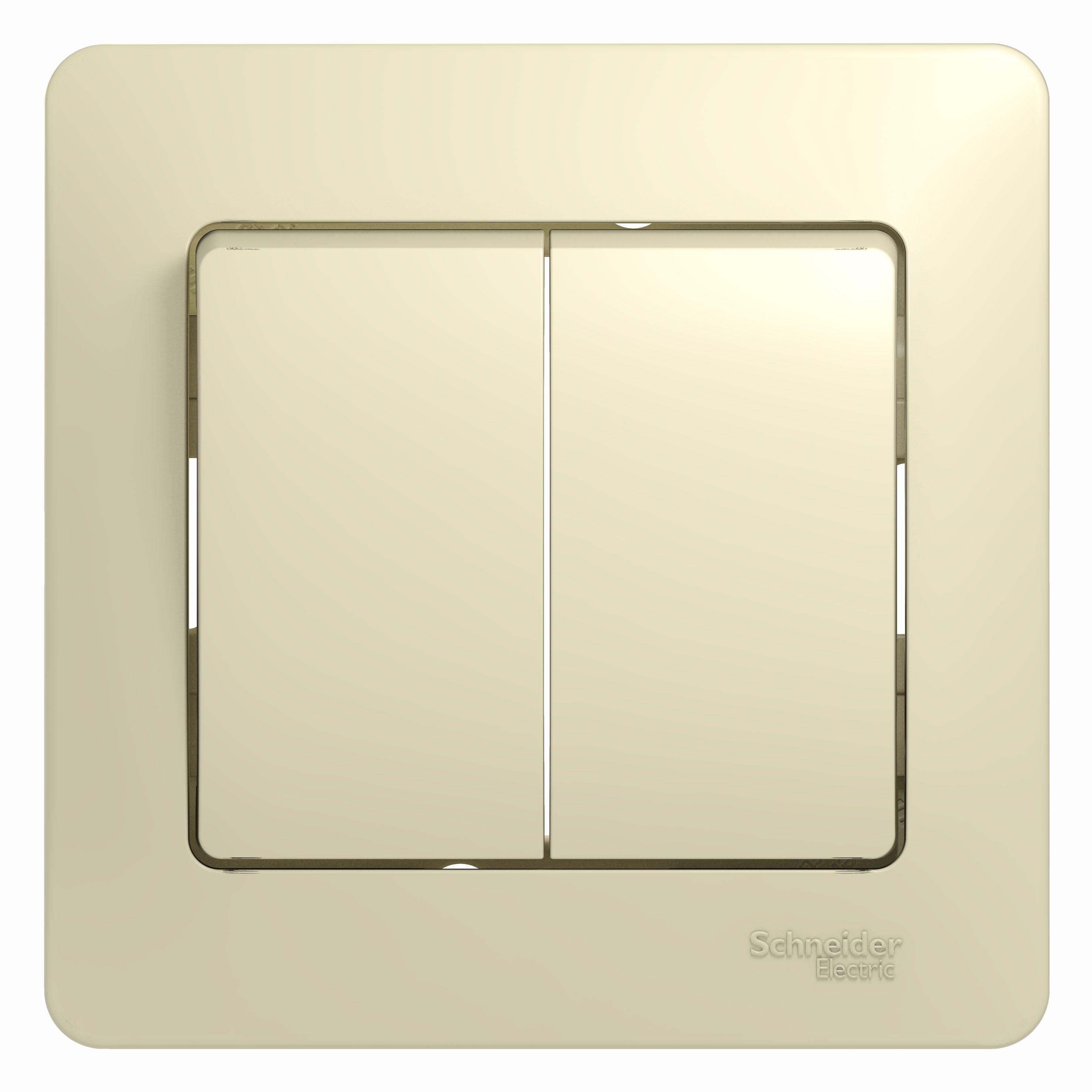 Выключатель Schneider electric Gsl000252 glossa выключатель двухклавишный наружный бежевый 10а quteo