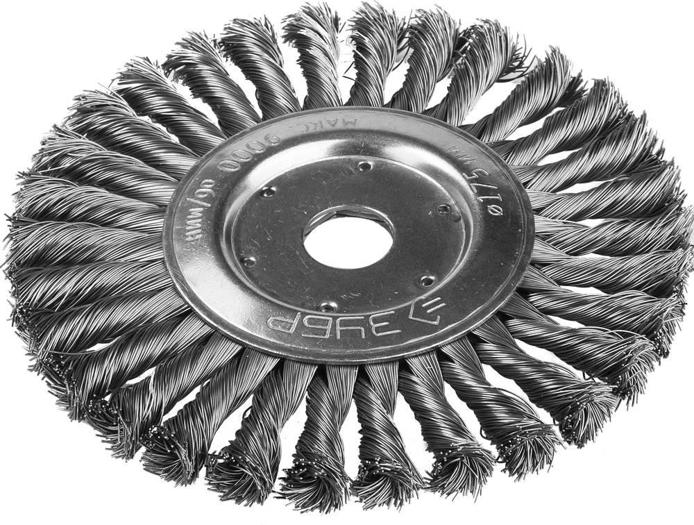 Кордщетка ЗУБР плоская 175мм для УШМ витая сталь (35190-175_z01)