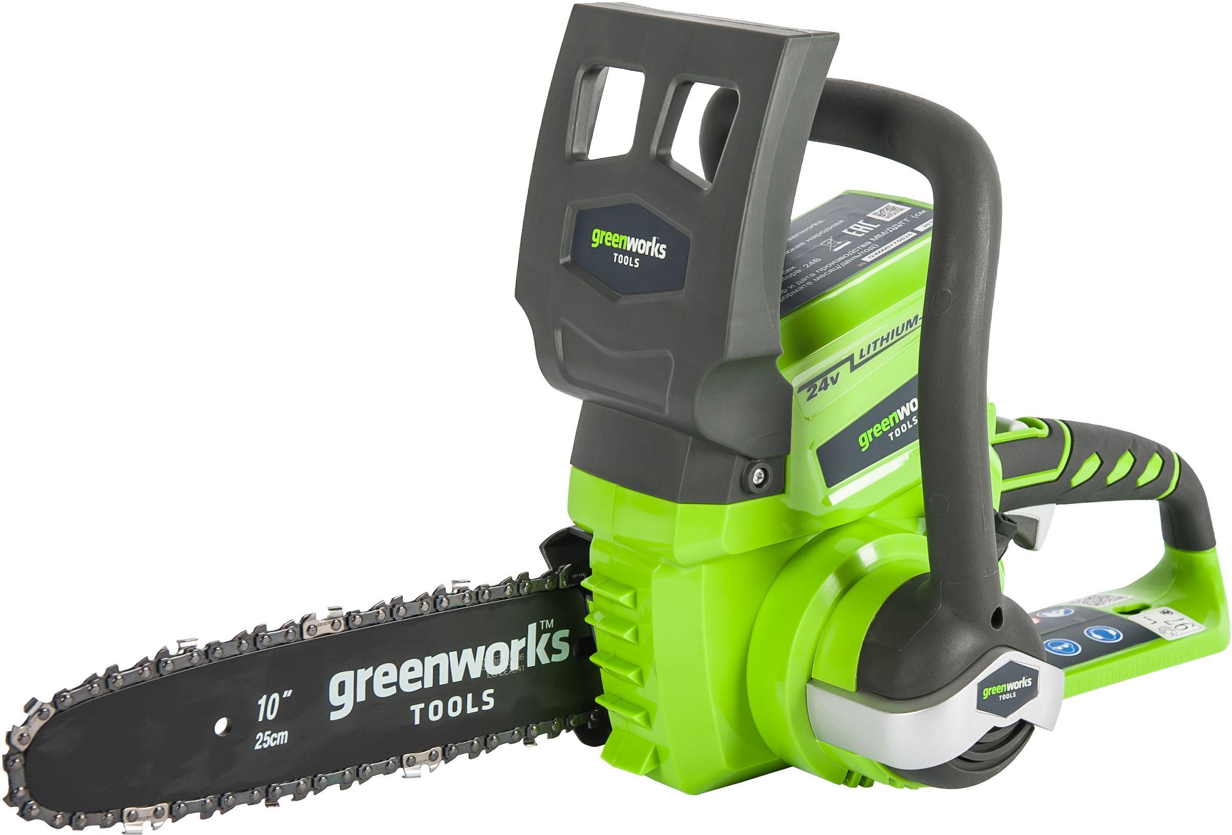 Пила цепная аккумуляторная Greenworks Gd24csk2 (2000007va) 1акк 24В 2Ач + ЗУ винтоверт ударный greenworks 24в бесщеточный