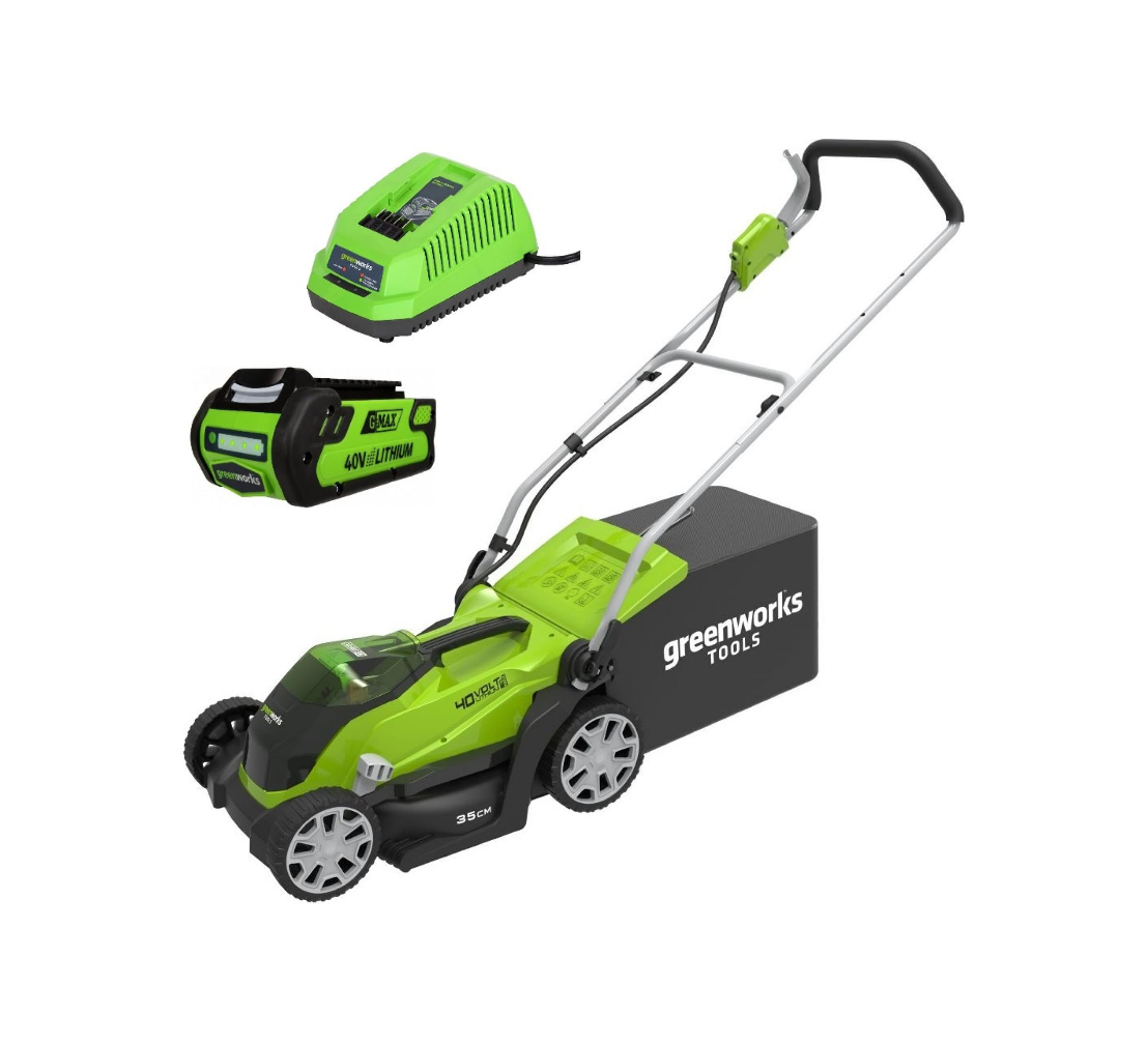 Аккумуляторная газонокосилка GREENWORKS G40LM35K2 (2500067va)