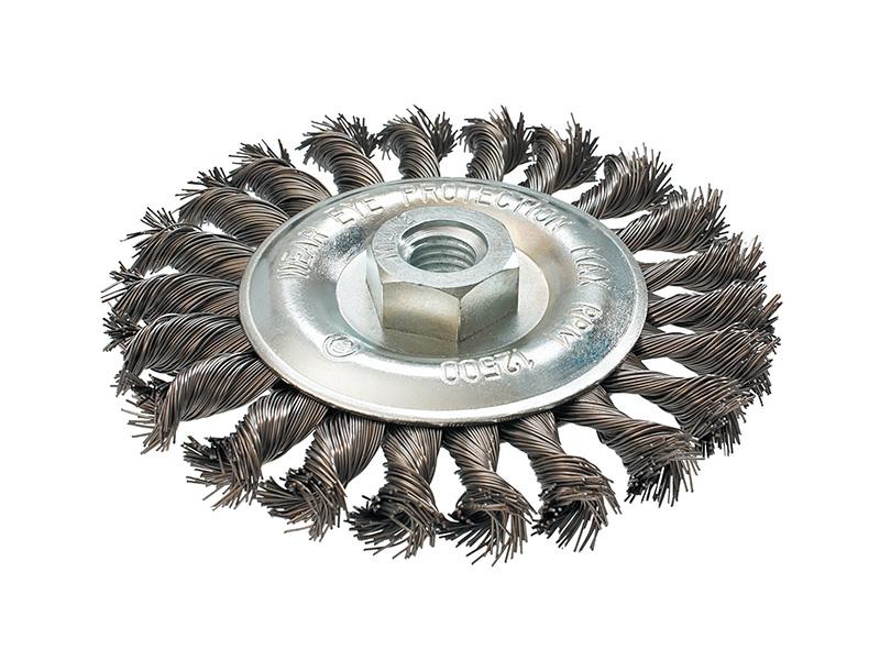 Кордщетка ПРАКТИКА плоская 115мм для УШМ витая сталь (242-625)