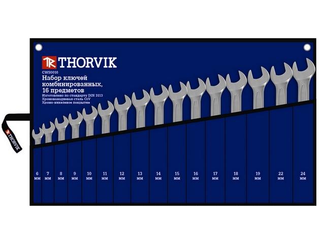 Набор ключей Thorvik Cws0016 (6 - 24 мм) пневмоинструмент thorvik aag0410