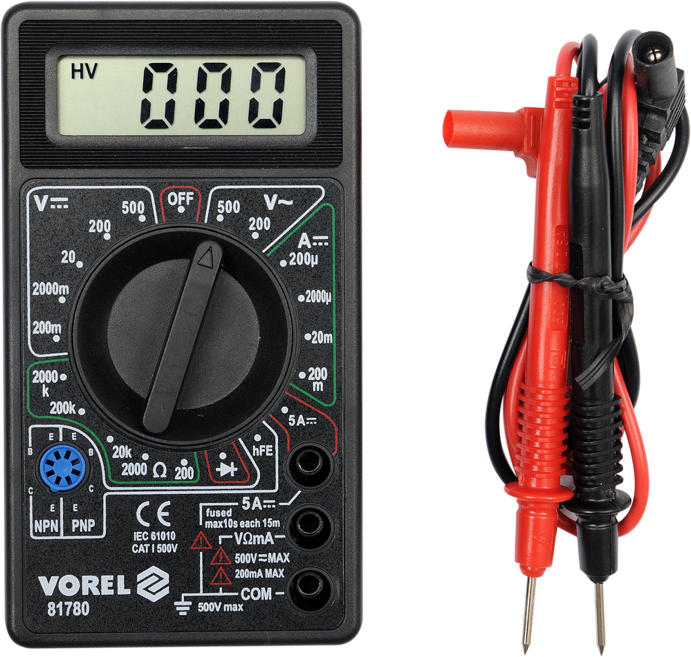 Мультиметр Vorel 81780 ключ торцевой vorel l типа 17мм