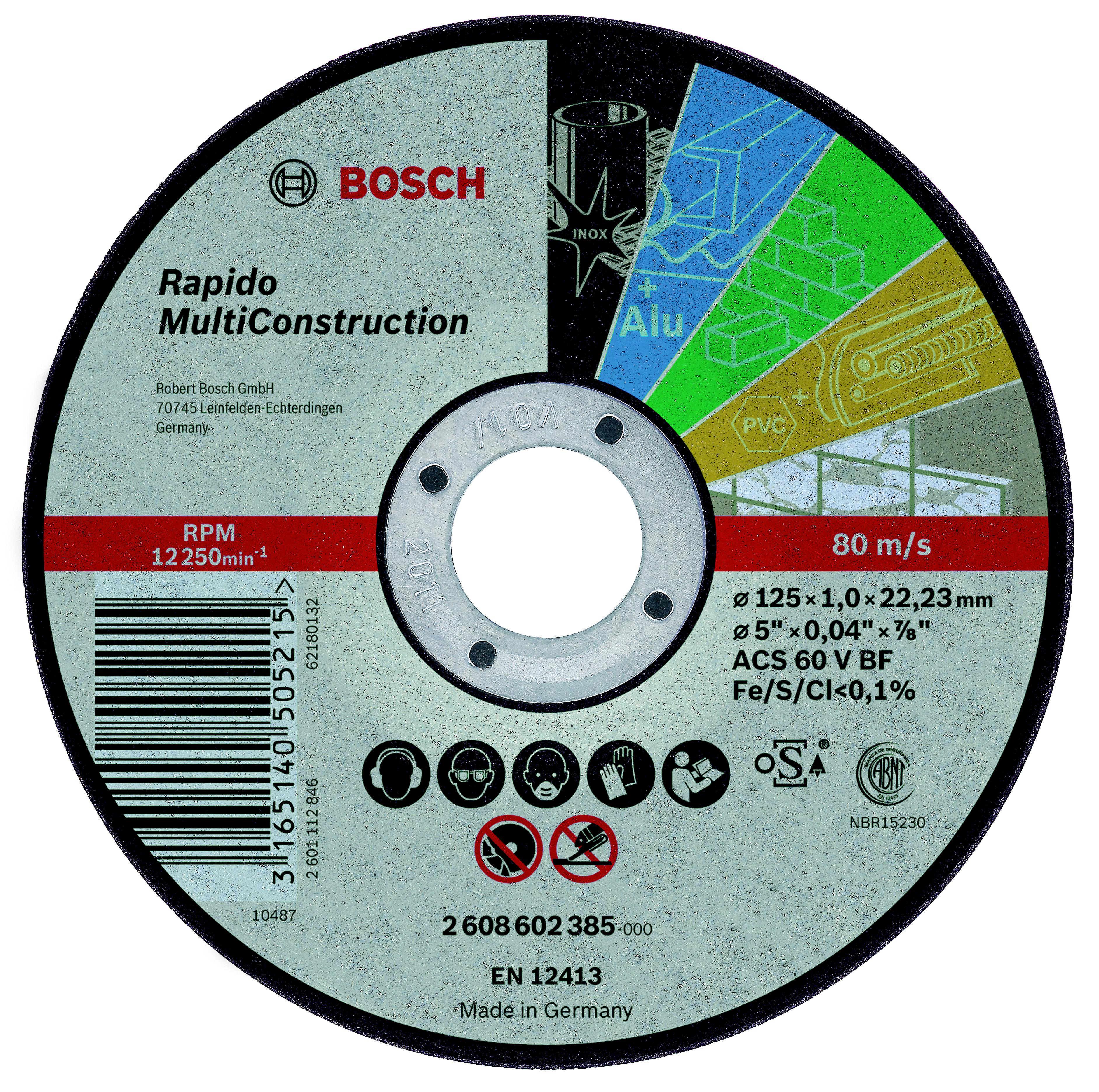 Круг отрезной Bosch 125х1х22 2608602385 круг отрезной norton 125х1х22 norton vulkan