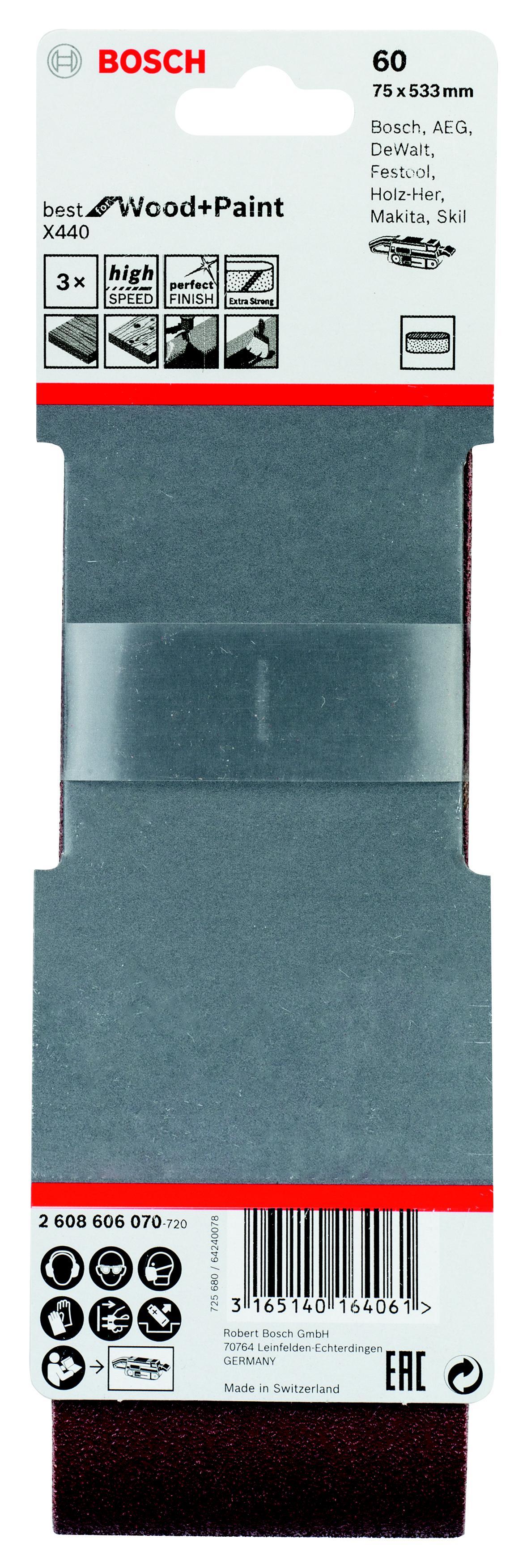 Лента шлифовальная бесконечная Bosch 2608606070 лента шлифовальная бесконечная hammer flex 75 х 533 р 60 3шт