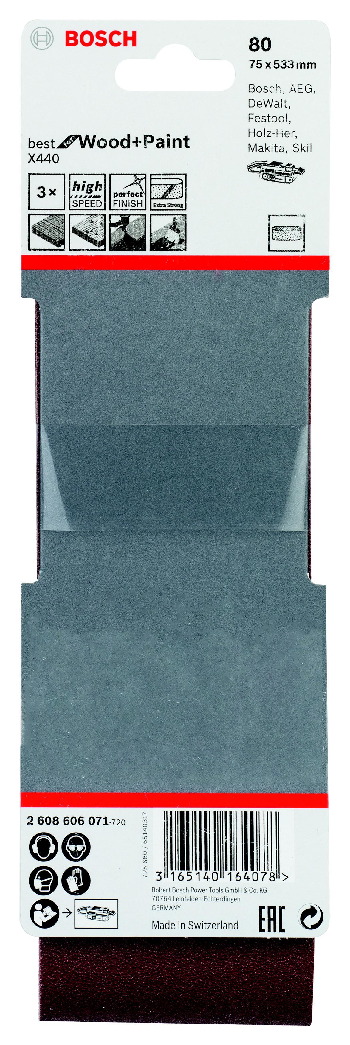 Лента шлиф. бесконечная Bosch 75х533мм p80 0941 блузка