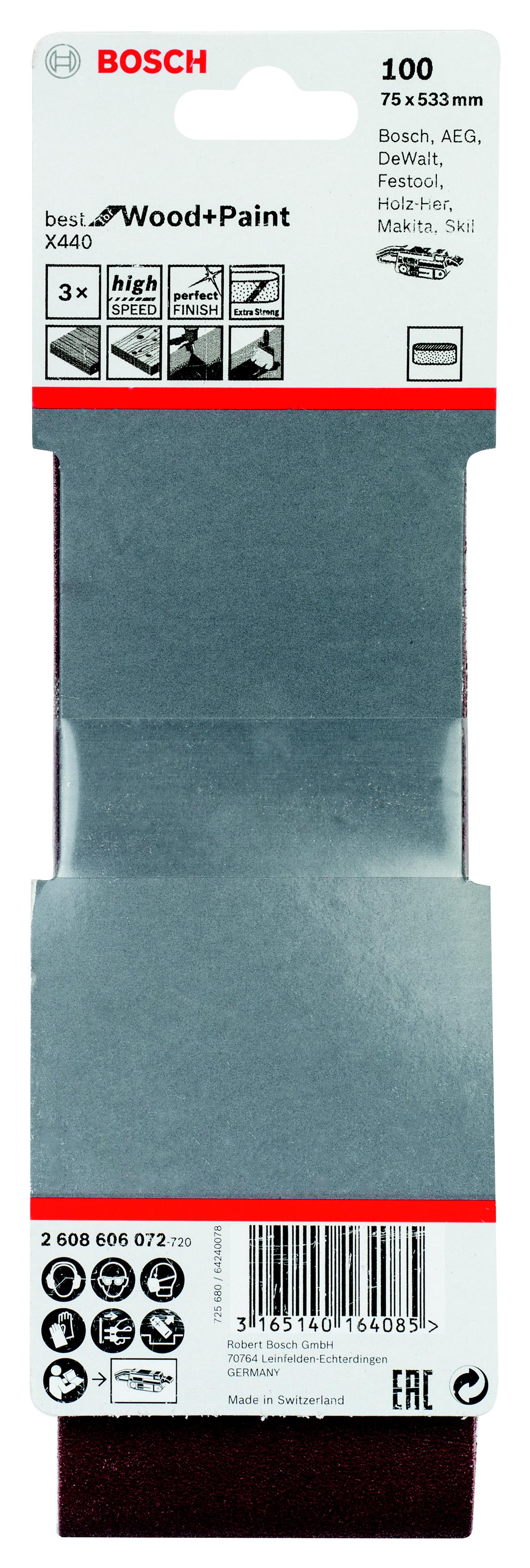 Лента шлиф. бесконечная Bosch 75х533мм p100 лента шлиф бесконечная bosch 75х533мм p120