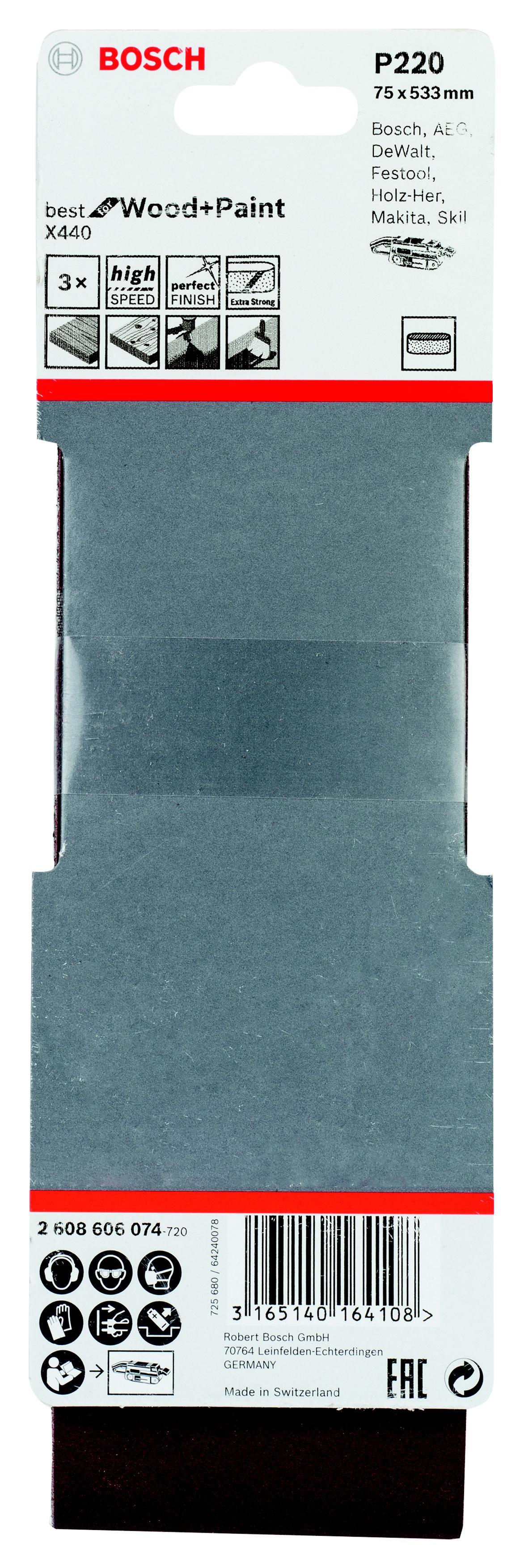 Лента шлиф. бесконечная Bosch 75х533мм p220 лента шлиф бесконечная bosch 75х533мм p120
