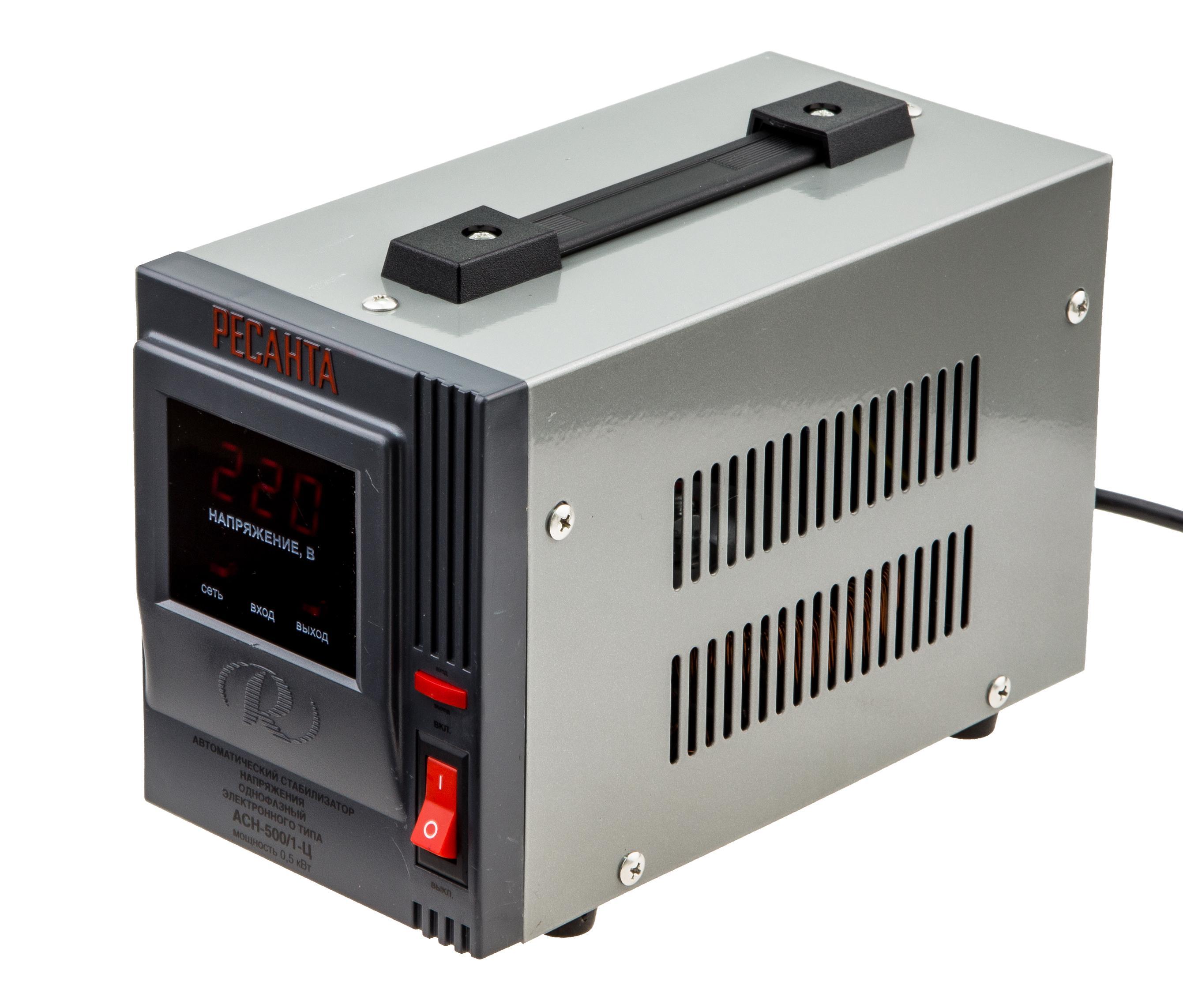 РЕСАНТА АСН-500/1-Ц Стабилизатор Асн-500/ 1-ц Напряжение: 220 В, Мощность (ВА)...