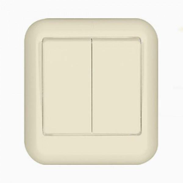 Выключатель Wessen A56-029-si выключатель двухклавишный наружный бежевый 10а quteo