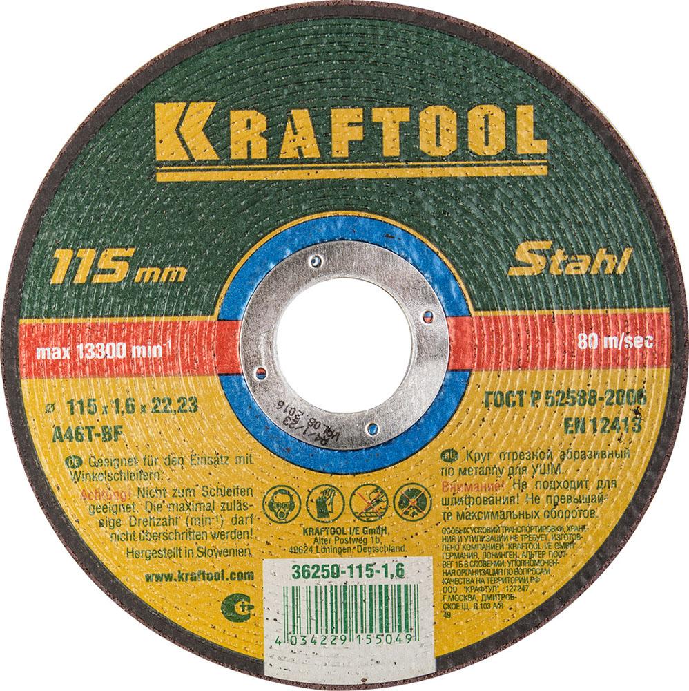 Круг отрезной Kraftool 115х1.6х22 36250-115-1.6 круг отрезной kraftool 125х1 6х22 36250 125 1 6