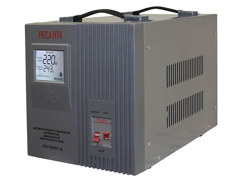 Стабилизатор напряжения РЕСАНТА АСН-10000/1-Ц стабилизатор напряжения ресанта ach 10000 1 ц 1 розетка серый