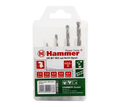 Набор сверл HAMMER No15 HEX (5шт.) 2-6мм