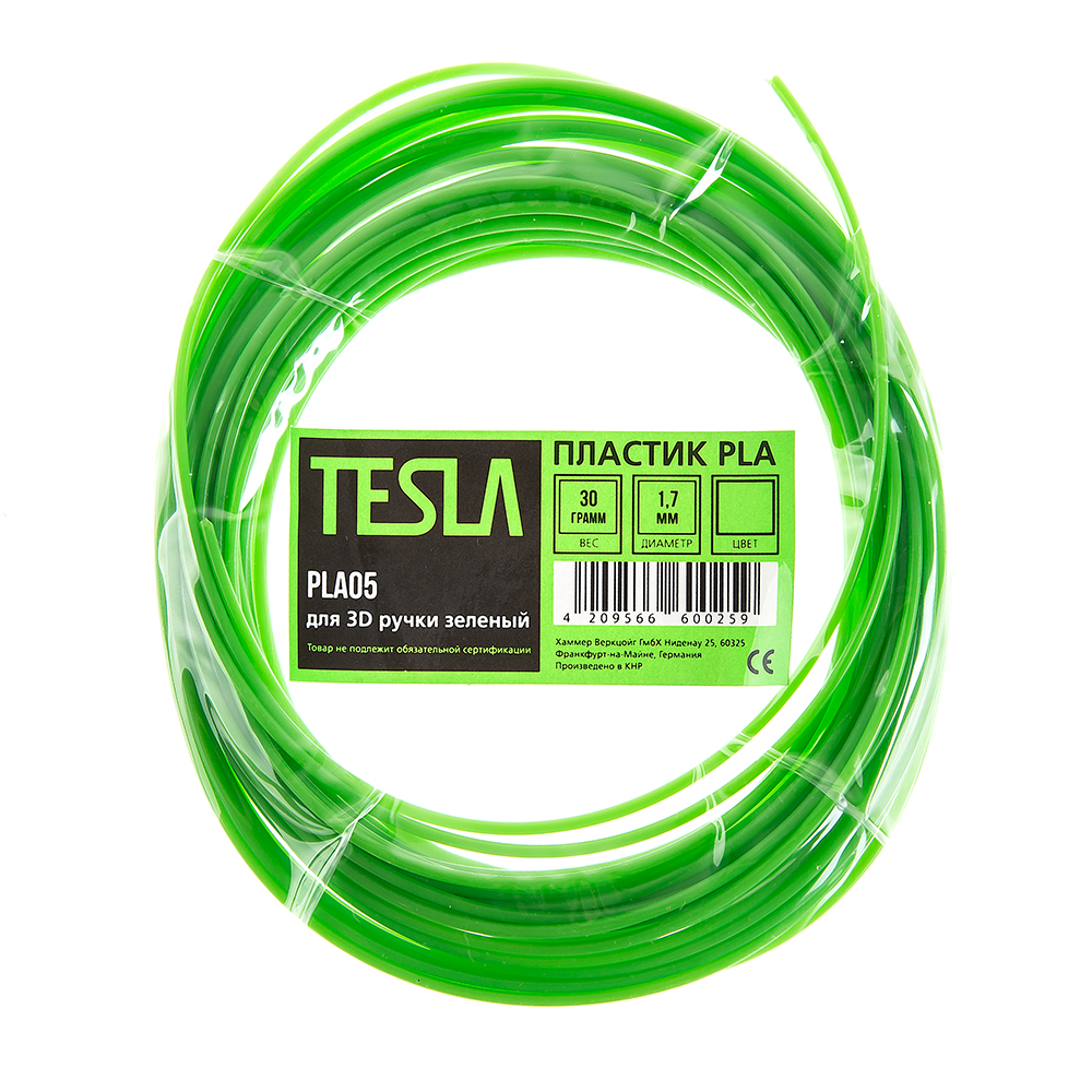 Pla-пластик для 3d ручки Tesla Pla05 зеленый pla пластик для 3d ручки tesla pla09 серебристый