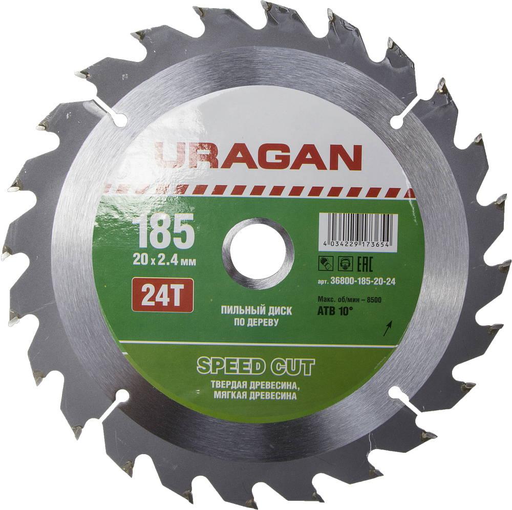 Диск пильный твердосплавный Uragan 36800-185-20-24 диск пильный uragan по дереву 190х30мм 24 зубьев