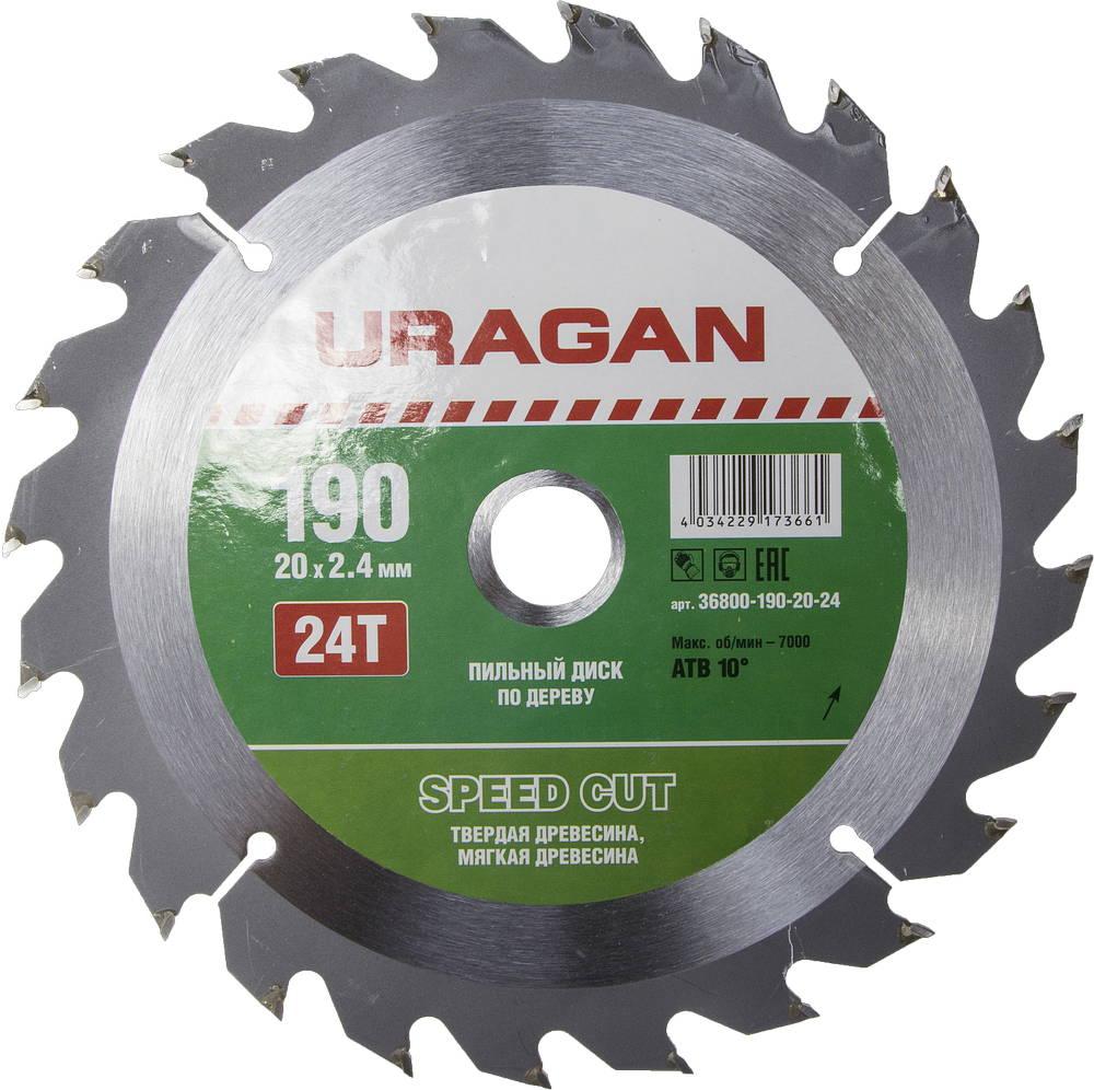 Диск пильный твердосплавный Uragan 36800-190-20-24 диск пильный uragan по дереву 190х30мм 24 зубьев