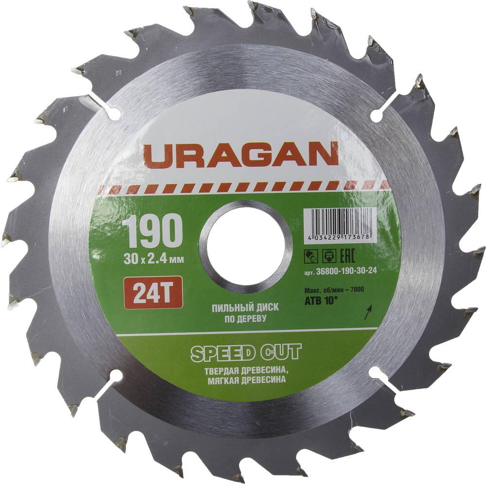 Диск пильный твердосплавный Uragan 36800-190-30-24 диск пильный uragan по дереву 190х30мм 24 зубьев