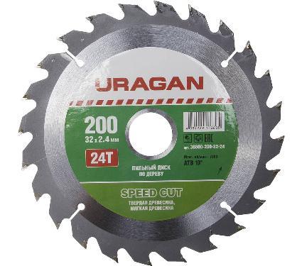 Диск пильный твердосплавный URAGAN Ф200х32мм 24зуб. (36800-200-32-24)