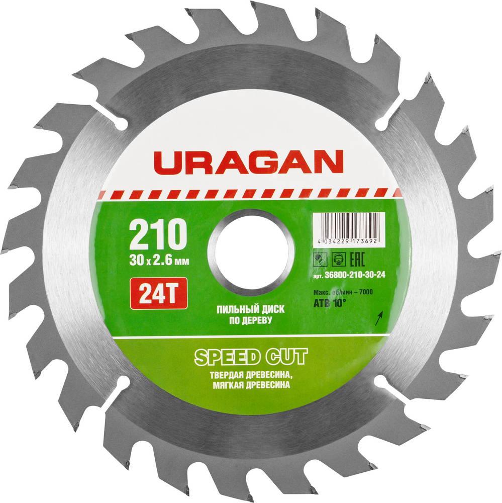 Диск пильный твердосплавный Uragan 36800-210-30-24 диск пильный uragan по дереву 190х30мм 24 зубьев
