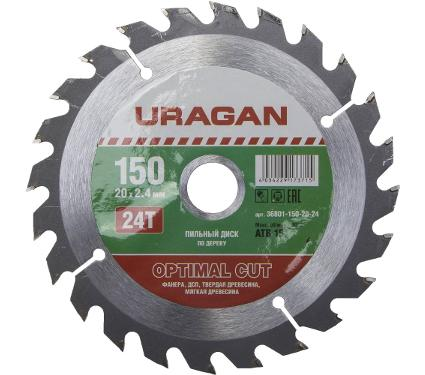 Диск пильный твердосплавный URAGAN Ф150х20мм 24зуб. (36801-150-20-24)
